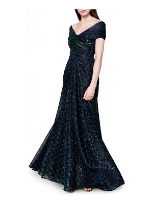 Talbot Runhof sprinkled metallic off the shoulder voile gown