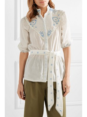 Talitha beaded embroidered cotton and silk-blend top