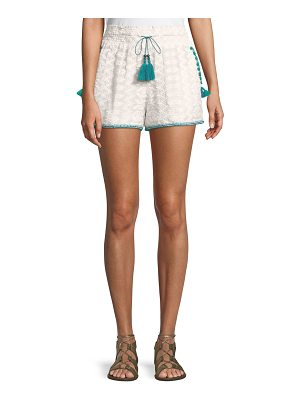 Talitha Collection Embroidered Cotton Short with Pompom Trim & Tassel-Ties
