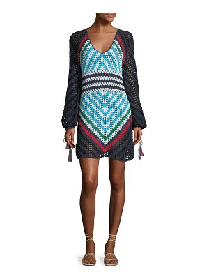 Talitha Collection Long-Sleeve Scoop-Neck Hand Crochet Mini Dress