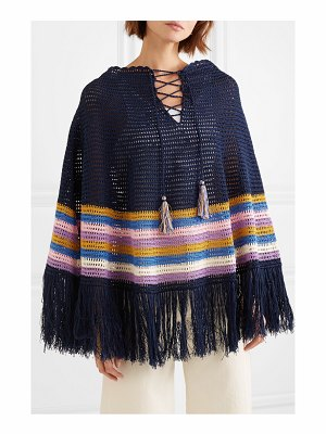 Talitha fringed striped crocheted cotton poncho