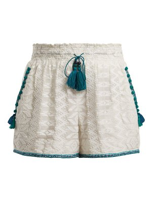 Talitha zigzag embroidered cotton and silk blend shorts