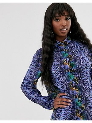 Taller Than Your Average ttya button through shirt in purple python print
