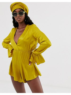 Taller Than Your Average ttya plunge front romper with fluted sleeve detail in rich yellow