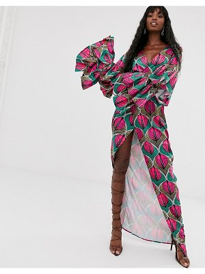 Taller Than Your Average ttya ruffle sleeve wrap over maxi dress in contrast geo print-multi