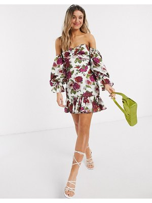 Talulah exclusive envision floral off shoulder mini dress in white bloom-multi