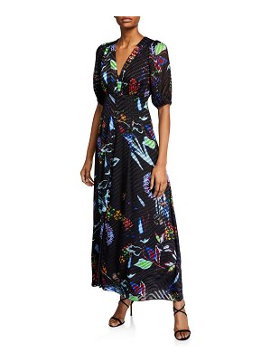 Tanya Taylor Ariela Floral Burnout Long Dress