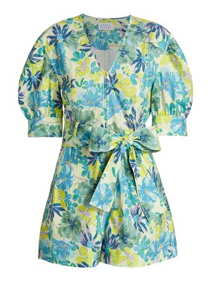 Tanya Taylor becky floral puff-sleeve romper