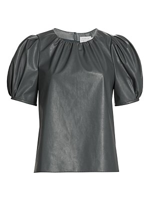 Tanya Taylor carol faux leather short puff-sleeve top