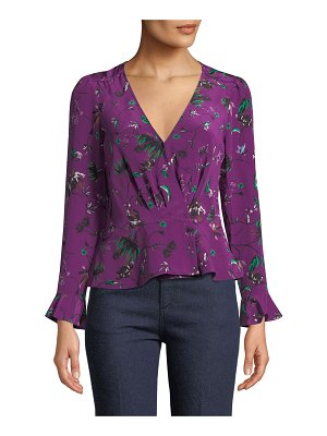 Tanya Taylor Clio Printed Bell-Sleeve Wrap Top