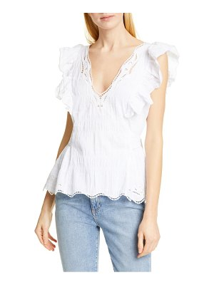 Tanya Taylor connie lace detail stretch cotton blouse