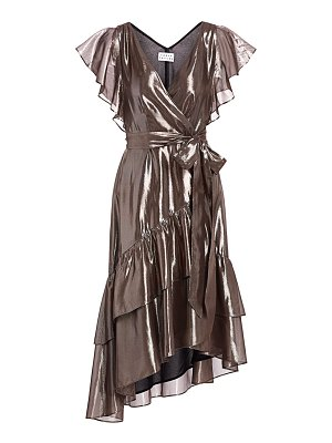 Tanya Taylor dita metallic asymetric wrap dress
