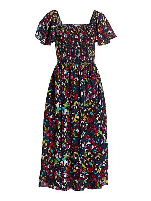 Tanya Taylor glenda smocked silk midi dress