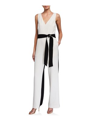 Tanya Taylor Jetta Two-Tone Belted Jumpsuit