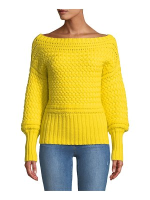 Tanya Taylor Marie Cable-Knit Off-Shoulder Sweater