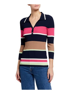 Tanya Taylor Misty Long-Sleeve Stripe Polo Top