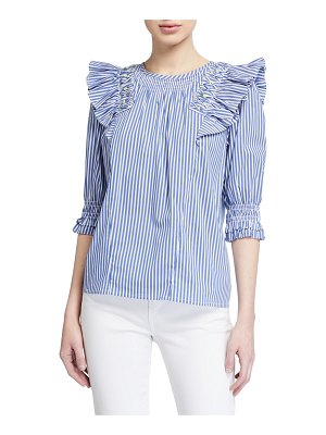 Tanya Taylor Pilar Striped Ruffle Top