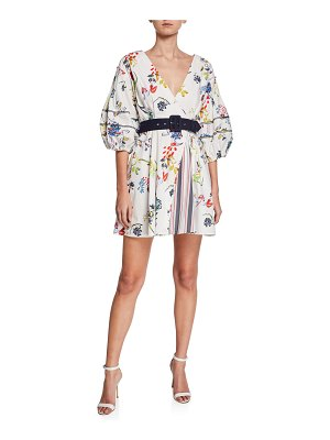 Tanya Taylor Rachele II Floral-Print Balloon-Sleeve Belted Mini Dress