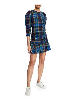 Tanya Taylor Raven Ruched Plaid Flounce Dress