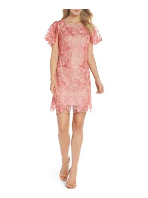 Taylor Dresses floral mesh lace shift dress