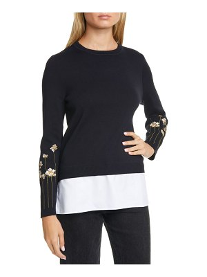 Ted Baker floral embroidery layered cotton sweater