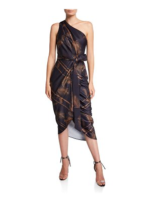 Ted Baker Gabia Printed One-Shoulder Midi Wrap Dress