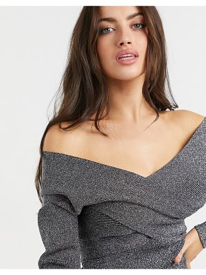 Ted Baker kyyraa off the shoulder long sleeve sparkle knitted top in gray-black