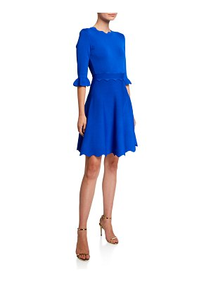 Ted Baker Lauron Crewneck Scallop-Edge Skater Dress