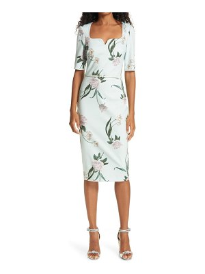 Ted Baker magieyy floral notched neck body-con dress