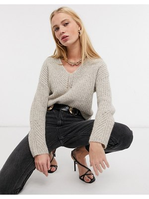 Ted Baker rieliaa v-neck sweater in camel-tan