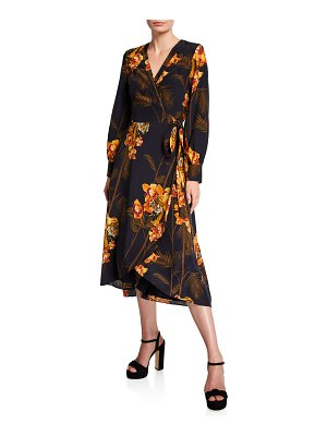 Ted Baker Stela Caramel Printed Long-Sleeve Midi Wrap Dress