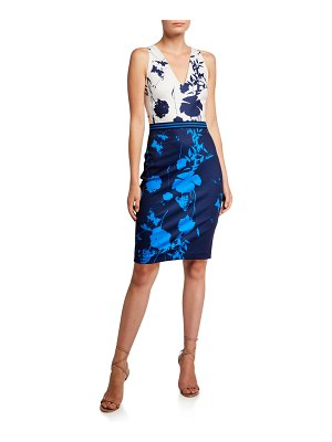 Ted Baker Tilliai Colorblock Printed V-Neck Crossback Bodycon Dress