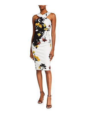 Ted Baker Yoladi Twist-Front Floral Body-Con Dress