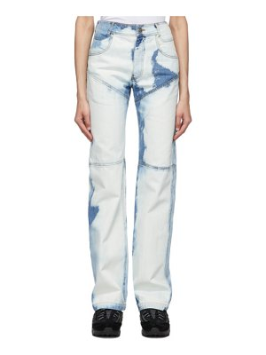 Telfar blue  three-panel straight-leg jeans
