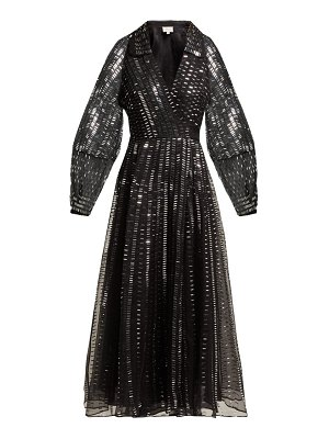 Temperley London Jet Sequinned Silk Organza Wrap Gown