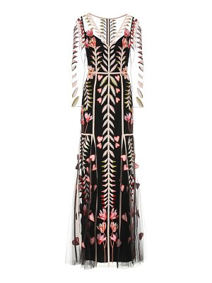 Temperley London rosy floral organza gown