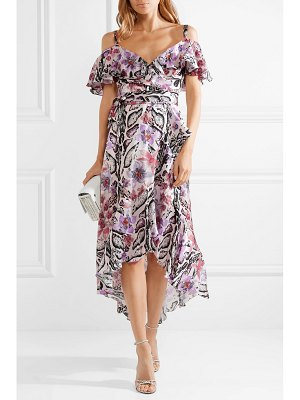 Temperley London ruffled printed hammered silk-satin midi dress
