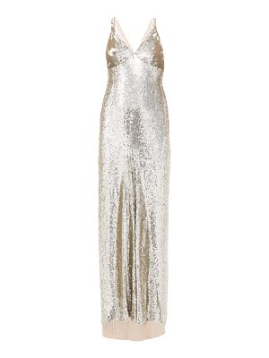 Temperley London tamir crossover-back sequinned gown