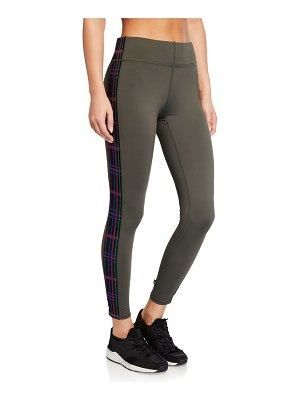 Terez American Dream Tall Band Leggings with Plaid Side Taping
