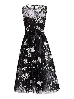 Teri Jon avian & floral beaded tie-waist tulle a-line dress