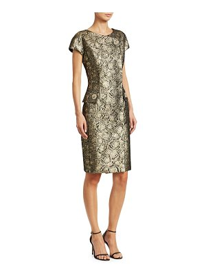 Teri Jon Cap Sleeve Metallic Jacquard Midi Dress