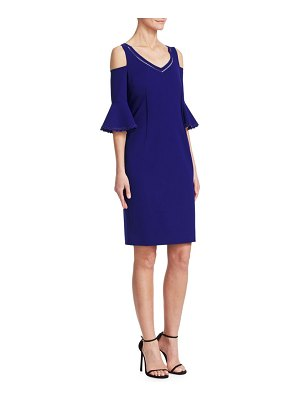 Teri Jon Cold-Shoulder Bell-Sleeve Sheath Dress
