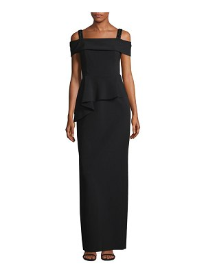Teri Jon Cold Shoulder Peplum Gown
