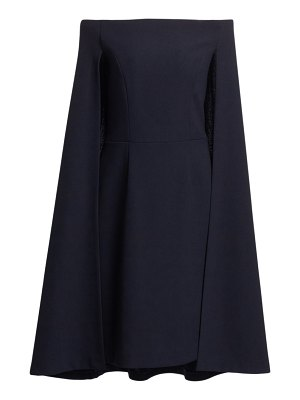 Teri Jon crepe off-the-shoulder cape dress