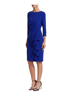 Teri Jon crepe side ruffle sheath dress
