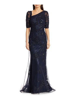 Teri Jon Embellished Asymmetrical Lace Gown