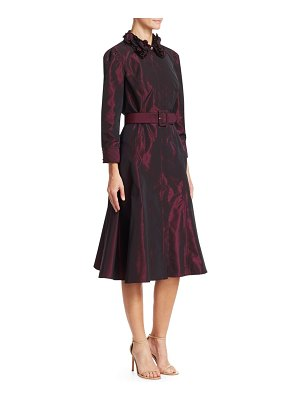 Teri Jon Embellished-Collar Taffeta A-Line Shirtdress