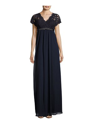 Teri Jon Embellished Lace-Trimmed Gown