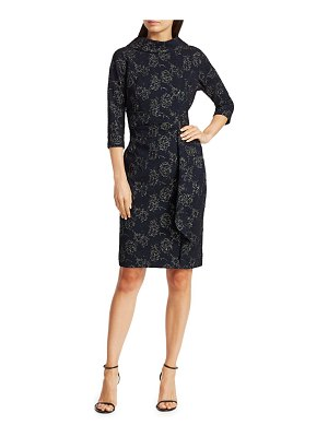Teri Jon Embellished Metallic Jacquard Highneck Dress