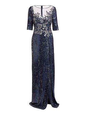 Teri Jon embellished sequin slit gown